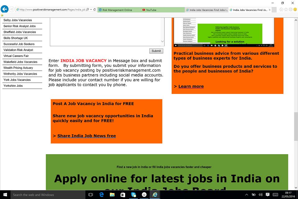 New Delhi Job Vacancies and India Career Progression BusinessRiskTV.com
