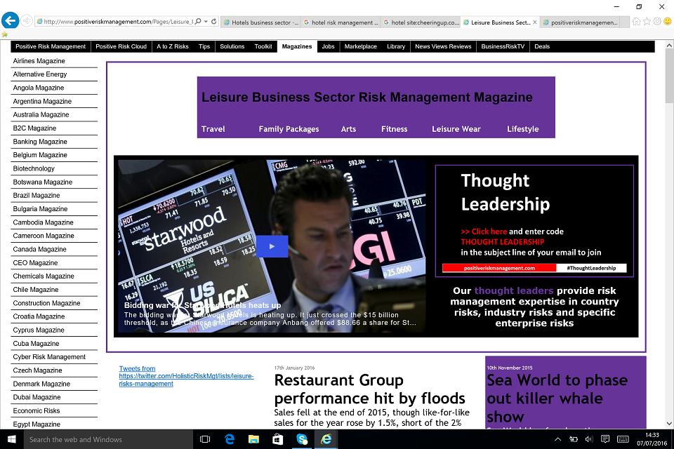 Leisure Industry Business News Opinions Reviews BusinessRiskTV.com